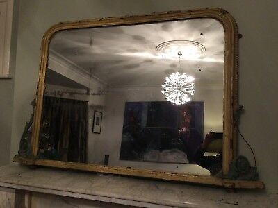 LARGE ANTIQUE WOOD AND PLASTER  OVERMANTLE OR WALL MIRROR- Shabby Chic