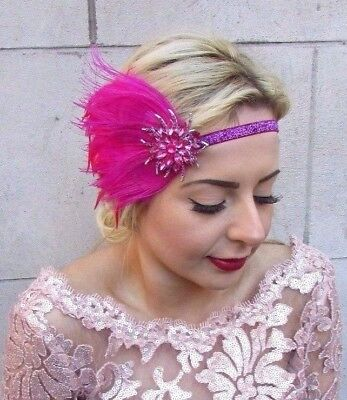Hot Pink Silver Feather Headpiece 1920s Headband Flapper Great Gatsby Vtg 4723