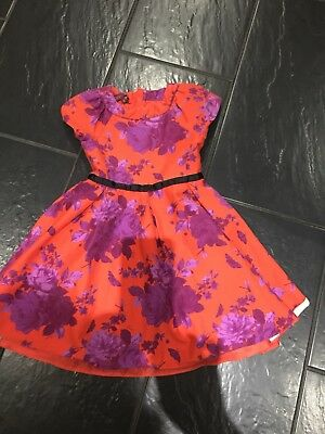 Ted Baker Stunning Girls Floral Red Party Christmas Dress  Age 8 Years