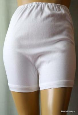 SWAN-----VINTAGE SOFT WHITE COTTON CUFF LEG PANTIES KNICKERS BLOOMERS XOS NEW  h