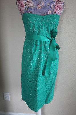 motherhood green eyelit strapless belted dress L