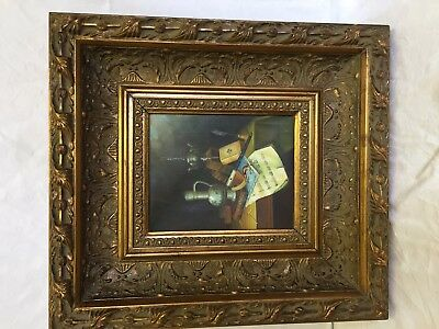 Large Vintage Stunning Oil Painting on Canvas in Heavy Plaster Gilt Frame