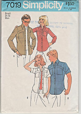 7019 SIMPLICITY c.1975 - SHIRT w Curved Yoke - MENS Sz S 34/36""