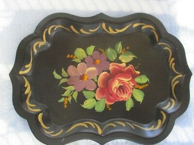 Vintage Mid Century Hand Painted Pink Roses Dresser Jewelry Vanity Tole Tray