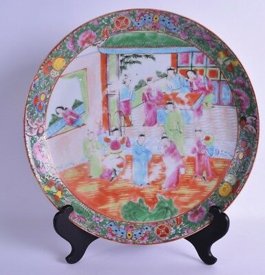 A LARGE 19TH CENTURY CHINESE CANTON FAMILLE ROSE CIRCULAR CHARGER.Qing dynasty