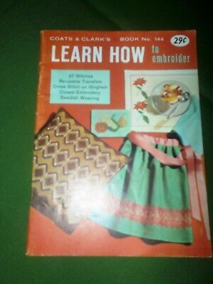 Vintage Coats & Clark's 144 Learn How To Embroider Transfers Cross Stitch Weave