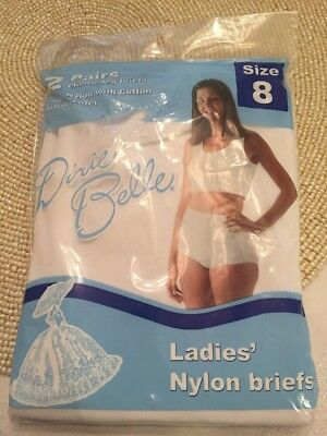 Vtg Dixie Belle White Nylon Briefs Size 8 USA 2 Pair Package NOS