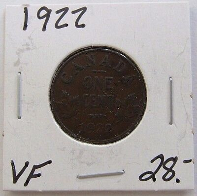 1922 Very Fine Canada One Cent Coin