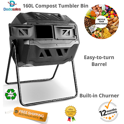 Garden Compost Bin Twin Tub Tumbler Easy To Turn Composting Drum Churner 160L