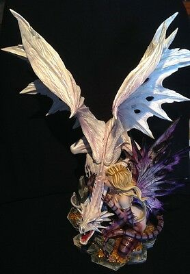 Large White Dragon with Fairy Keeper Statue