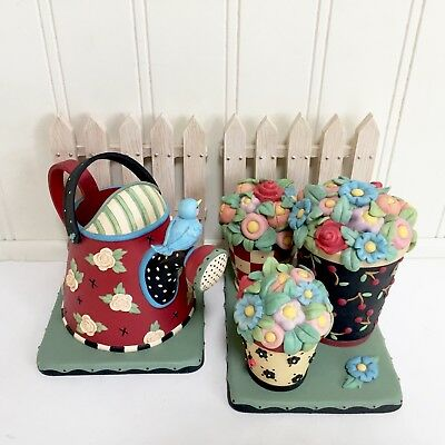 Mary Engelbreit Bookends Teapot Flower Pots Fence 2000 Michel Co Tea Time