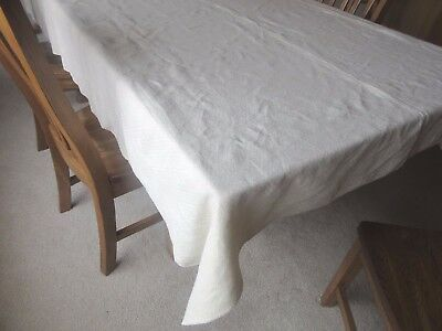 "Antique Homespun Linen Tablecloth with Provenance Parrott Farm 64"" X 96"""