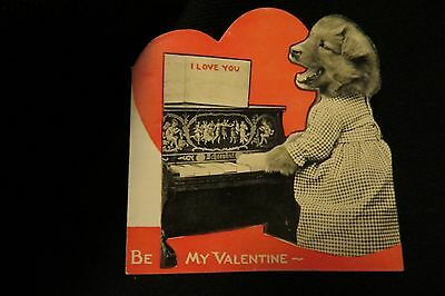 Vintage Golden Retriever Dog & SCHOENHUT Piano Valentine Card by: Beistle 1920s