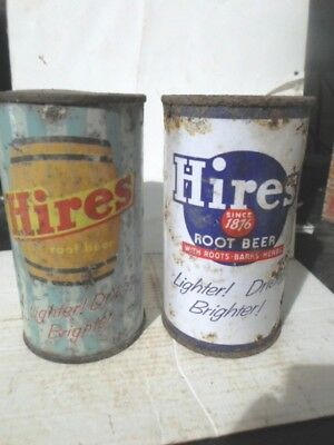 Qty = [2] Different Hire`s Root Beer Flat Top Soda Cans / Pop Cans