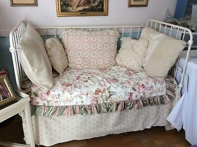 Antique Victorian Iron Crib Daybed includes bedding