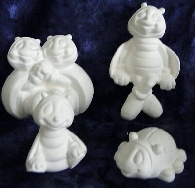 Ceramic Ready to Paint Bisque Set of 4 Bees and Beetles