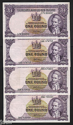 NEW ZEALAND P-159d. 1 Pound (1956-67). Fleming signature x 4 Notes.. VF-aEF