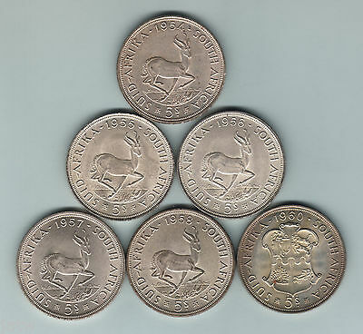 South Africa - Silver Crowns. 1954, 1955, 1956, 1957, 1958, 1960.  aEF-BU Lustre
