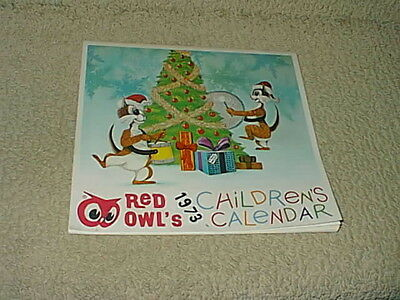 Vintage 1973 Childrens Christmas Calendar Red Owl Food Grocery Store