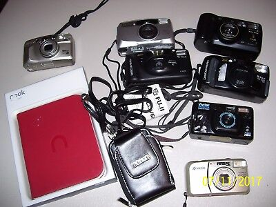 Big Lot Of 7 Cameras, Vivitar, Fuji, Pentax, Kyocera, And 2 Extra Items,  Fs