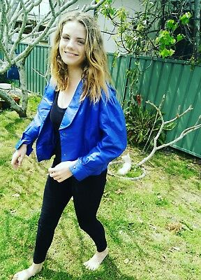 Vintage Retro Blue Leather Jacket,Size 14,made in the 1980s