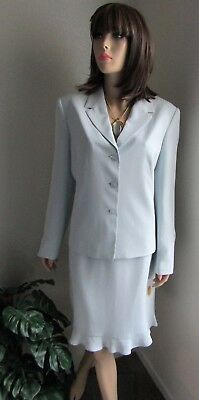 Nwt $256.00 Talbots 2 Pc Pure Silk Skirt Suit Size 12, Light Blue, Lined, Nice!