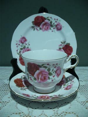 Queen Anne Bone China Bright Pink & Red Roses Gilt Trio - High Tea - Vintage Gc
