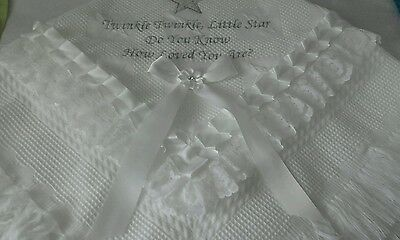 beautiful white twinkle twinkle little star baby shawl **NEW**