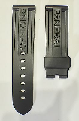 24mm Lug Width BLACK PU Rubber Watch Strap Designed For Panerai Watch Robust NEW