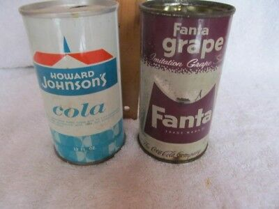 Two Vintage Soda Pop Cans-Fanta Grape and Howard Johnson's Cola