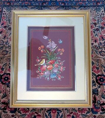 Superb Persian Miniature Painting of Flowers & Nightingale--Islamic/Middle East