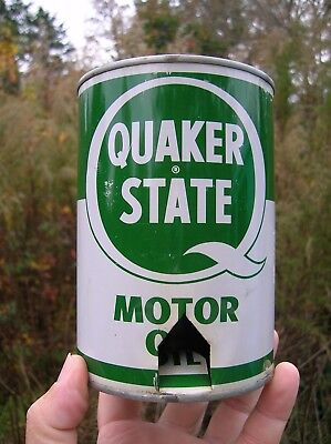 Vintage 1970's Quaker State SAE 30 One Quart All Metal Motor Oil Can No Barcode