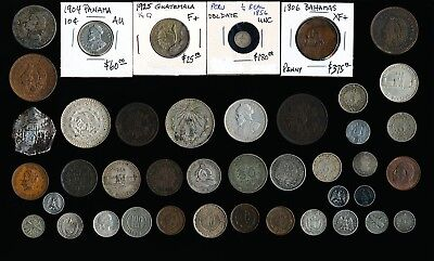 42 Old Latin & South America Tokens, Coins & Medals (Collectibles) No Rsrv
