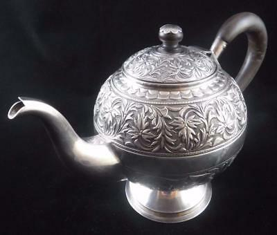 Antique Indian Colonial Pre 1947 Ornate Silver Plate Tea Pot Marked