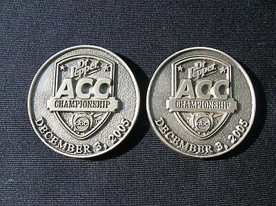 Two Vintage 12-03-05 Inaugural ACC Football Championship Game Dr Pepper Tokens