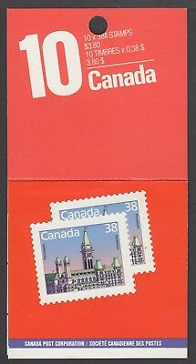 BOOKLET BKx101b 38c x10 PARLIAMENT RESEALED BY COLLECTOR, 90% OF FACE