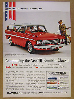 1961 Rambler Classic Station Wagon red car boxer dog photo vintage print Ad