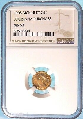 1903 Louisiana Purchase Exposition Gold Dollar - McKinley NGC MS-62 a Gem!