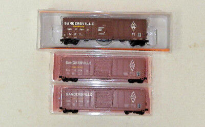 3 x Fox Valley/Roundhouse N Scale Sandersville 50' Boxcars