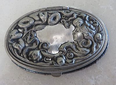 Antique Victorian Art Nouveau Silver Steel Ladies Oval Leather Coin Purse