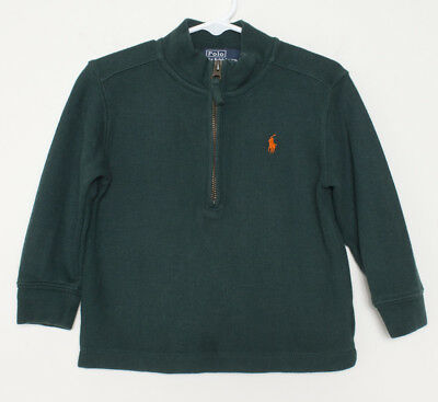 Polo Ralph Lauren Toddler 2t Sweater Half-Zip Green With Orange Polo Horse Logo