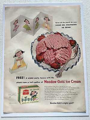 1954 Vintage Meadow Gold Ice Cream Magazine Ad.