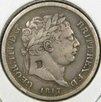 1817 Great Britain England UK George III Old Silver Shilling Coin Counter Stamp