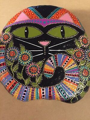 Large Original Hand Painted River Rock Stone  Zen Art Cat Kitty Flowers