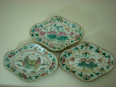 Three Qing Dynasty Chinese Famille Rose Porcelain Footed Plates