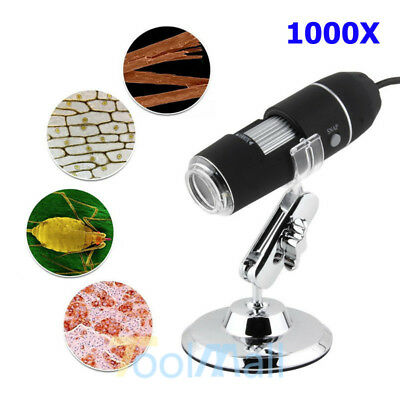 USB Digital Microscope Endoscope Zoom 2MP Video Magnifier PC Camera 8 LED 1000X