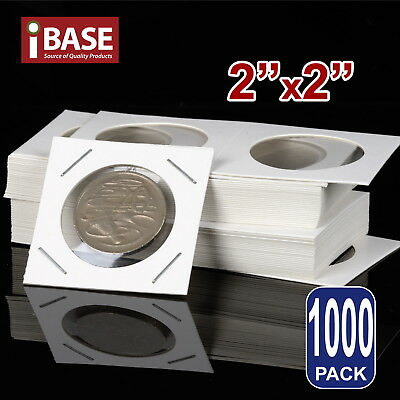 "1000x Staple Coin Holder 2""x2"" Display Clear Window Storage Protect Cent 35mm"