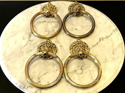 Chic Antique Gold Lion Head Face Towel Door Bar Rings Brass Mix Metal Set of 4