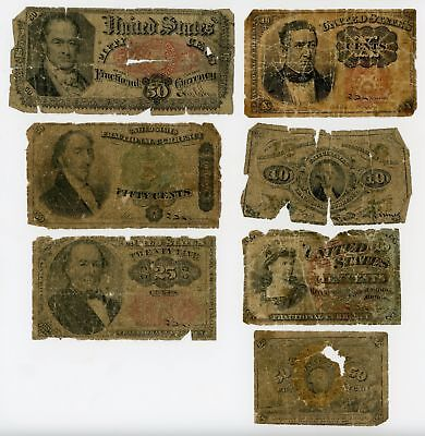 (Lot of 7) Low Grade United States Fractional Currency Notes - NO RESERVE!