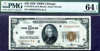 HGR SUNDAY 1929 $20 FRBN Chicago ((Brown Seal)) PMG CHOICE UNC 64EPQ